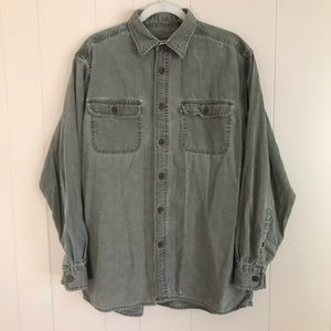VTG 90s Clear Water Faded Heavy Work Shirt Olive